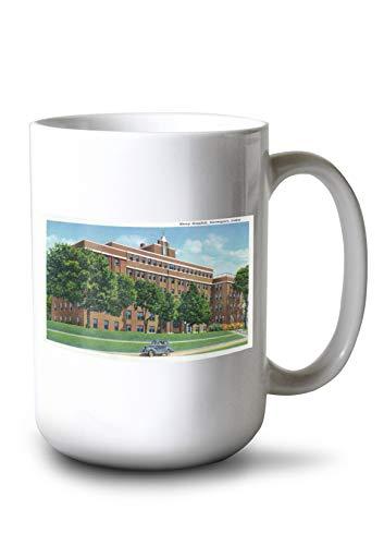 Lantern Press Davenport, Iowa - Exterior View of Mercy Hospital (15oz White Ceramic Mug) ()