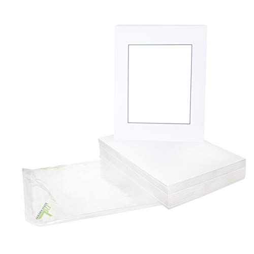 Golden State Art, Acid Free, Pack of 25 11x14 White Mats Mattes with Black Core Bevel Cut for 8x10 Photo + Backing + Bags