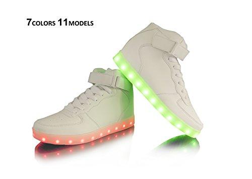 Dellukee USB Lade LED Beleuchtung Schuhe Fashion Flashing Sneaker H-weiß