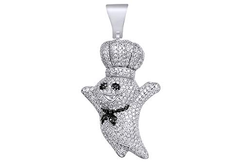 2 Cttw Black & White Natural Diamond Hip Hop Jewelry Pillsbury Doughboy Charm Pendant In Sterling ()