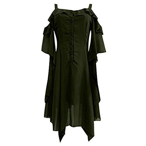 ☆HebeTop Women's Plus Size Gothic Dresses for Women Special Occasion Dark in Love Ruffle Sleeves Off Shoulder Midi Dress Green ()