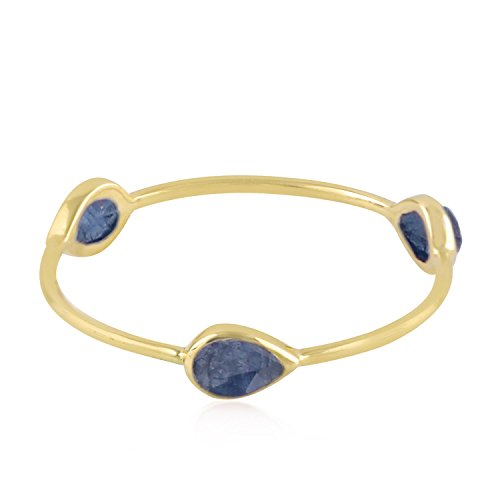 Mettlle 14K Yellow Gold Natural Blue Sapphire Three Stone Band Ring for Women Size ()