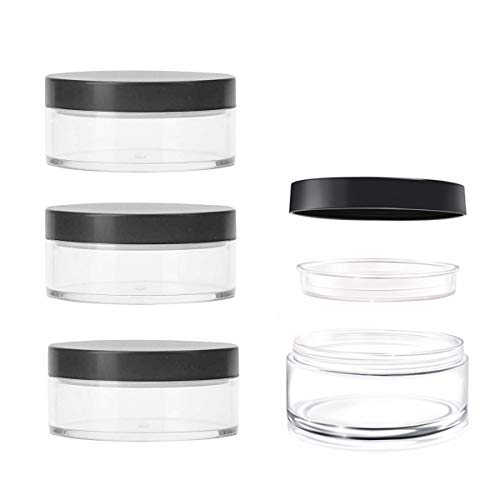 AKOAK Capacity 30 ml(1 oz) Empty Reusable Plastic Loose Powder Compact Container DIY Makeup Powder Case with Sifter and Lined Screw Lid,Pack of - Loose Oz Powder 1