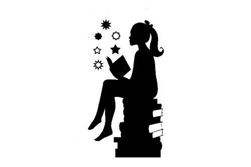 Girl Silouette (Kreative Decals Silouette of Girl Reading Books-Girls Room Vinyl Wall Decal (Black, 22x40))