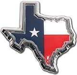 Texas Flag in TX shape with color Chrome Metal Car Emblem