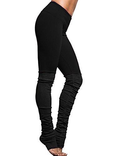 Ribbed Leggings - SEASUM Women Ribbed Yoga Leggings Colorblock Gym Yoga Workout High Waist Running Pants Fitness Candy Tights Elastic M
