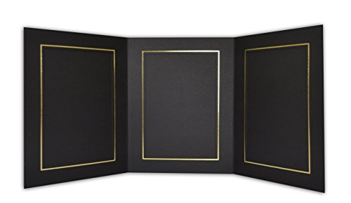 Golden State Art, Cardboard Photo Folder for 3 5x7 Photo (Pack of 50) GS005 Black Color by Golden State Art (Image #1)