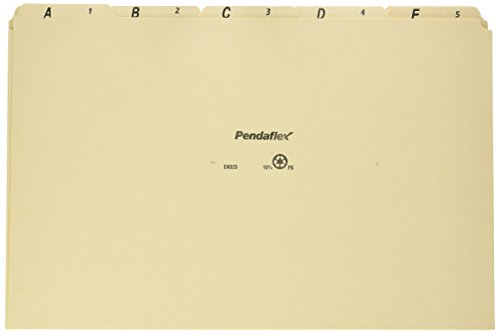 Pendaflex EN325 A-Z Top Tab Recycled File Guides, 18 pt. Manila, 1/5 Tab, Legal Size, 25/set