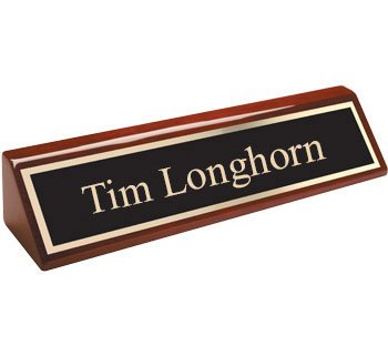 QuickTrophy Rosewood Desk Name Plate - 10