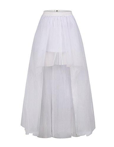 ASMAX HaoDuoYi Women Mesh Tulle High Low High Waist Tutu Princess Wedding Skirt White