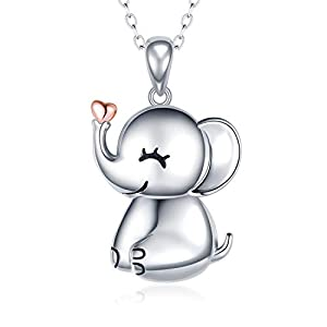 MANBU 925 Sterling Silver Cute Necklace - Luck Elephant Pendant Rose Gold Heart Animal Jewelry Women Girls Ladies Kids