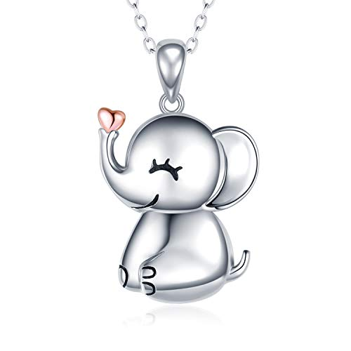 MANBU 925 Sterling Silver Cute Necklace - Luck Elephant Pendant Rose Gold Heart Animal Jewelry Women Girls Ladies ()
