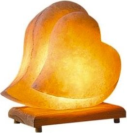 Himalayan Salt Lamp Hand Carved Himilian Pink Light Romantic Double Heart Crystal Rock on Neem Wood Base UL - Approved Cord with Dimmer Switch Brightness Control . Enjoy this Eco Friendly Work of Art!