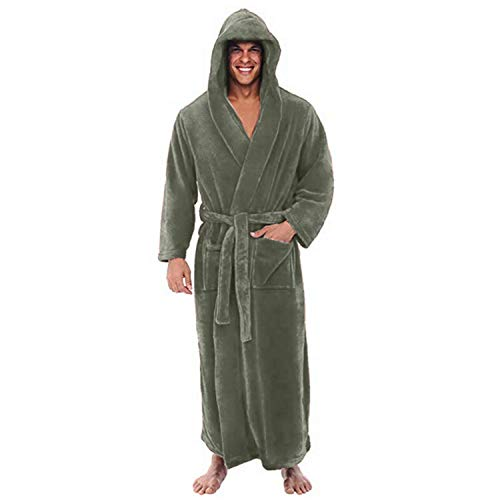 TIFENNY Men's Winter Long Sleeved Robe Coat Hooded Soft Plush Lengthened Shawl Bathrobe Home Clothes Green -