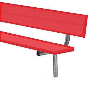 15' Permanent Bench w/back (colored) (EA) from BSN Sports
