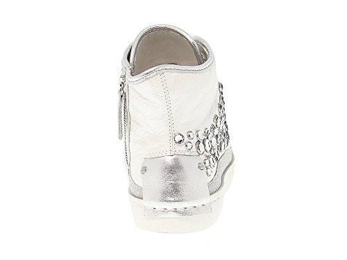 Zapatillas London Crime Blanco Plata 25345KS110 Altas Cuero Mujer npWdwW8xY