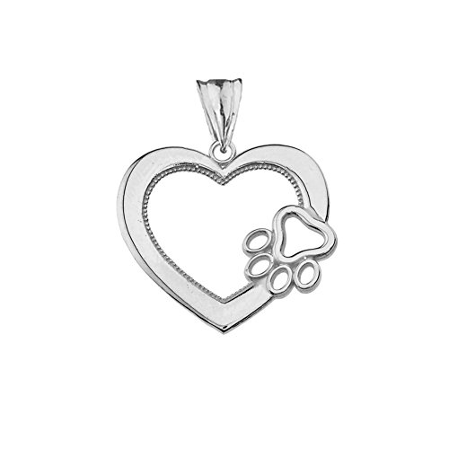 Dazzling Sterling Silver Open Heart Dog Paw Print Charm Pendant