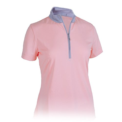 Monterey Club Ladies' Dry Swing Hi-Low Contrast Zipped up Collar #2325 (Light Pink/Gray, Large)