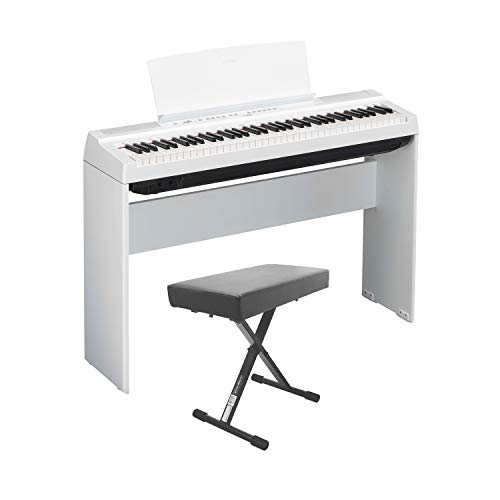 Yamaha P121 73-Key Weighted Action Digital Piano – White with Matching L121 White Furniture Stand and Bench