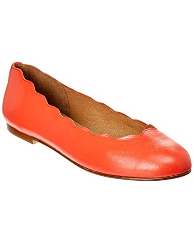 Sole Flats Leather French - French Sole Razor Leather Flat, 10, Orange