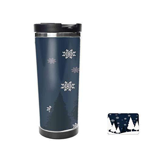 (Winter Wonderland Christmas Snowflake Party Decoration Travel Mug for Coffee & Tea,Drinking Cup, Coffee Mug,Thermos Cup 14oz )