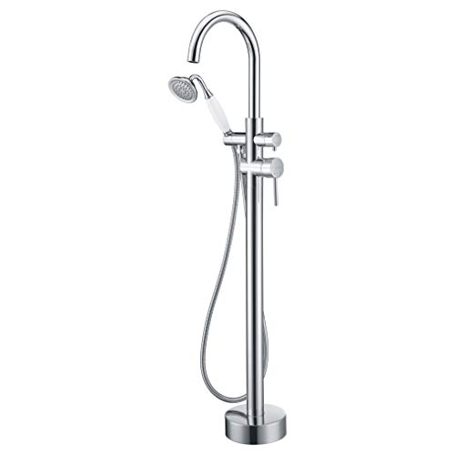 Floor Mounted Tub Faucet Chrome Freestanding Bathtub Filler Faucets High Flow Rate 11.9GPM with Hand Shower Mount LLGG