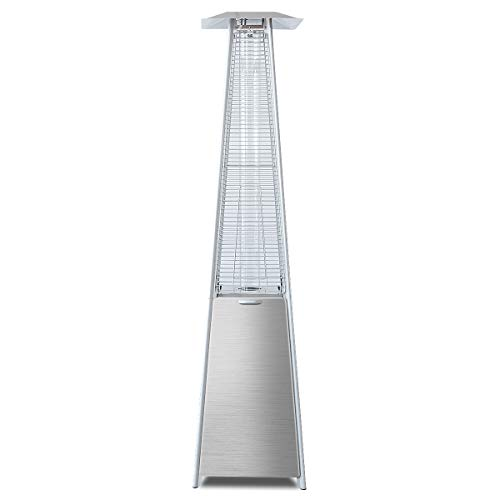 Tangkula 40,000 BTU Patio Heater Outdoor Stainless Steel Pyramid Propane Glass Tube Dancing Flames
