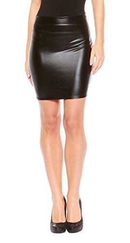 [Red Hanger Women's Mini Skirt - Shiny Metallic - Liquid Wet look (Black-M)] (Black Halloween Skirt)