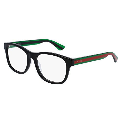 Gucci GG 0004OA 002 Asian Fit Black Plastic Square Eyeglasses - Gucci Frames Mens Glasses
