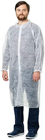 Pack of 10 White Lab Coats. Unisex Disposable Polypropylene Labcoat. X-Large Size. Hook and Loop Fastener, Col