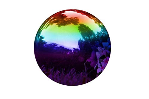 Kanff Gazing Ball Durable Stainless Steel Rainbow Ball, Home Gazing Globe Mirror Ball in Rainbow Stainless Steel (12 INCH)