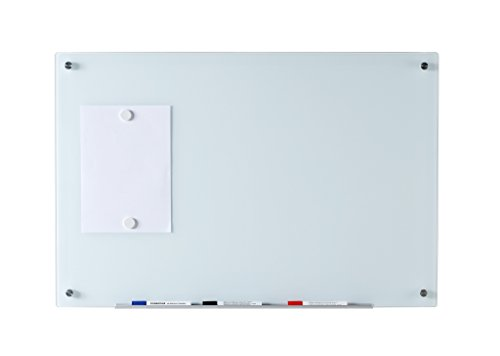 """Magnetic Glass Dry-Erase Board Set - 23 5/8"""" x 35 1/2"""" - Includes Board, 2 Magnets, and Aluminum Marker Tray"""