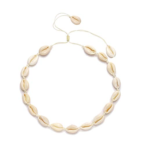 HSWE Cowrie Shell Choker Necklace for Women Seashell Strand Bracelets Summer Hawaiian Jewelry Set (Shell Necklace #1)