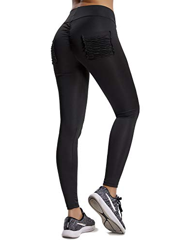 CFR 2018 New Sexy Women Ruched Fitness Leggings Butt Push Up Lift Yoga Pants High Waist Tummy Control Workout Sport Tights #2 Black with Pocket,Medium -