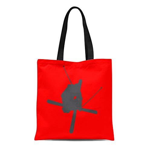 Semtomn Cotton Line Canvas Tote Bag Extreme Freestyle Skiing Sports Snow Ski Skier Winter Reusable Handbag Shoulder Grocery Shopping ()