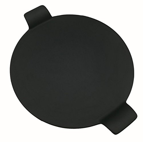YoHom Ceramic Pizza Stone for Grill and Oven - Large Round 10 Inch Nonstick Baking Stone with Built-in Handles for Kitchen or Outdoor BBQ - Thick Professional Bread Stoneware, Black