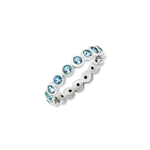 Stackable Expressions Sterling Silver with Lt Blue Swarov...