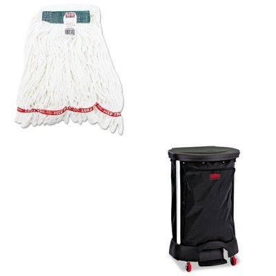KITRCP6350BLARCPA21206WHI - Value Kit - Linen Hamper Bag, 30 Gallon (RCP6350BLA) and Rubbermaid Web Foot Shrinkless Looped-End Wet Mop Head ()