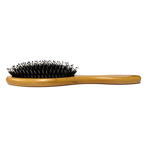 Boar's Hair Beard / Hair Brush with Bamboo Wood Frame, Fortified with Massaging Nylon Bristles and Beads, Engraved Handle
