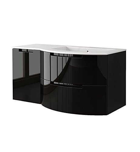 LaToscana OA43OPT3 Oasi 43 inch Modern Bathroom Vanity with 2 Slow Close Drawers Left Side Cabinet and Tekorlux Right Sink Top With Finish: Glossy San by La Toscana