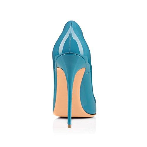 Shoes High Pointed Blue Pumps Court Pumps Heel Shoes High Slip Heel Glazed Court Toe onlymaker On Women's Dress Stilettos waRIFq