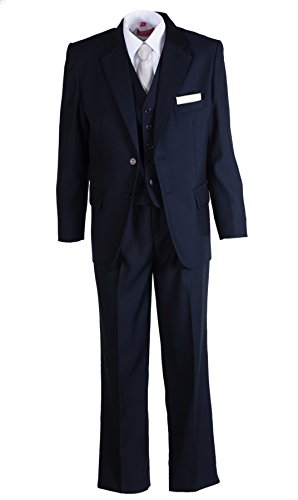 (Tuxgear Boys Slim Fit Dark Navy Blue Suit with White Necktie and Hanky (Boys 8))