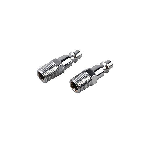 1/4-Inch Industrial Stainless Steel Quick Coupler Plugs Set - 1/4-Inch NPT Male Thread, 2 Pack ()