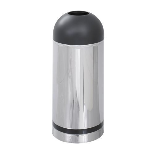 (Safco Products 9871 Reflections By Safco Open Top Dome Waste Receptacle, 15-Gallon, Chrome by Safco)