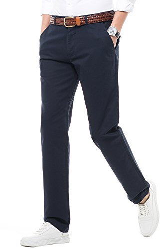 Fit Suit Trousers (Men's Athletic Fit Straight Leg Casual Pants 100% Cotton Dress Pants Trousers For Men,16 Color Choices,Navy,Size 32)