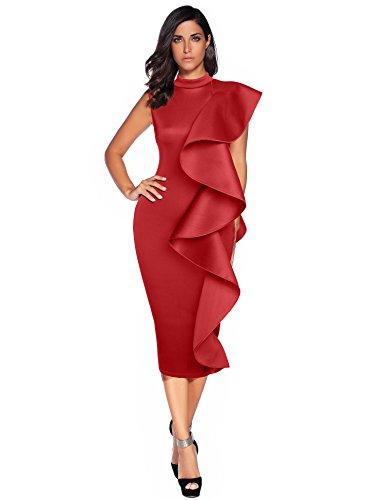 Meilun Womens Sleeveless Patchwork Ruffles Bodycon Vestidos Party Dresses Clubwear (XL, Wine Red)