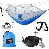 Wecamture Double Hammock with Mosquito Net 600LBS Portable Outdoor Hammocks 10ft Hammock Tree Straps & 12KN Carabiners for Backpacking Camping Travel Beach Yard