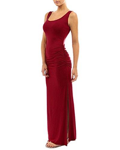 Vestido Maxi Largos Ajustados Elegante Mujer Sin Mangas Vestido De Noche Trajes De Fiesta Coctel Vino Rojo