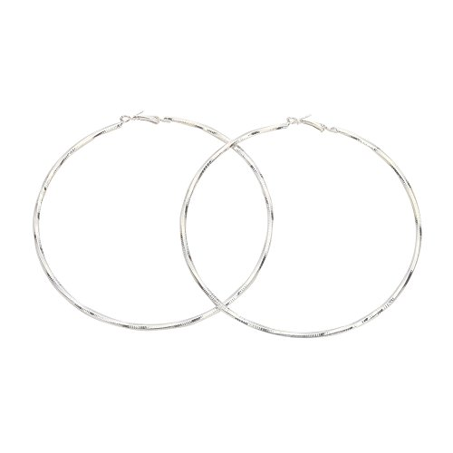 - Extra Large Round Circle Twist Metal Hoop Earrings for Women(Silver)