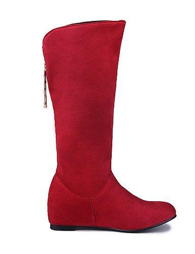 Chaussons Bottes à Imitation pour red Daim Femme décontracté Femme Rond Mode Citior Chaussures pour compensé Bottes Talon Chaussons Bout 07d6wfOxqf
